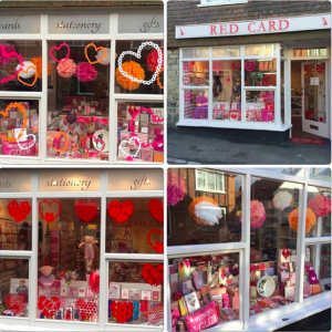Above: A quartet of images from Red Card's Valentine's window that it posted on Instagram.