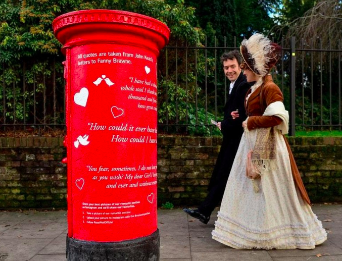 Above: Royal Mail decorated four postboxes with hearts and quotes located close to where famous writers and poets John Keats, Robert Burns, Anna Seward and Thomas Hardy lived.