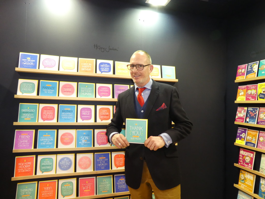Above: Pigment's sales director Steve Baker on the publisher's stand at Spring Fair with a smaller Happy Jackson Thank You card that is similar to the one that made it into the political world.