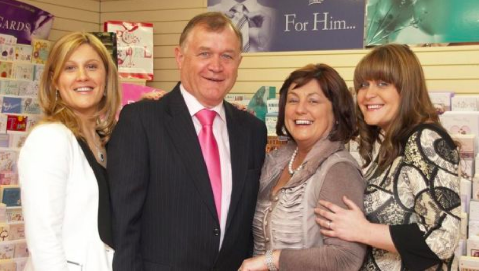 Above: P&G Cards' founders Gerry and (second left) Pauline Naughton with their daughters Michelle Daly (left) and Aisling Naughton.