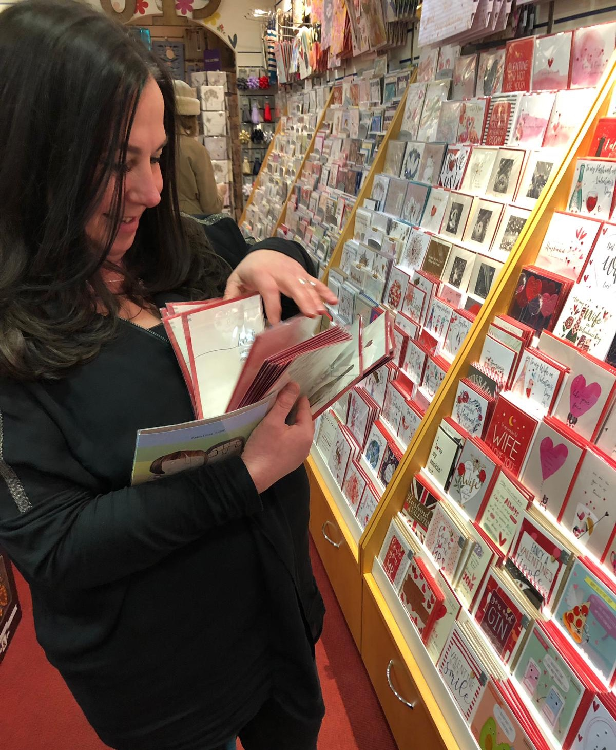 Above: Box of Delights' Michelle Ellingham titivating the store's Valentine's Day display.