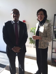 Above: GCA's ceo Amanda Fergusson with Ojay McDonald, ceo of Association of Town and City Management (ATCM) who made a presentation at the recent meeting.