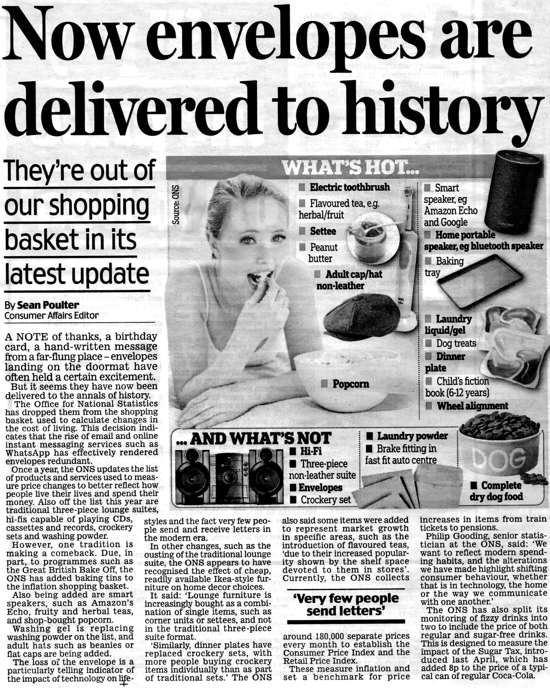 Above: The Daily Mail suggested wrongly that greeting cards have been dropped from the ONS basket.