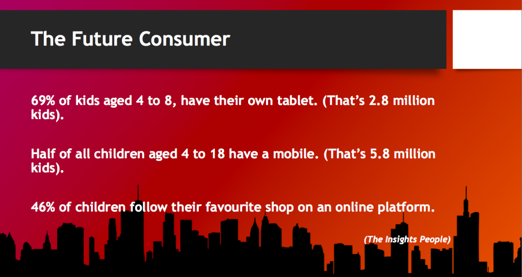 Above: One of the slides in ATCM's Ojay McDonald's presentation highlighting how technology needs to be used to promote independent stores to the next generation.