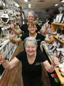 Above: We've made it to the finals! It's a thumbs-up from Joco Interiors' owner Jo Williams (back), shop supervisor Debbie Carey (centre) and Linda Tandy, shop manager, who is also a finalist in the Retail Employee of the Year category.