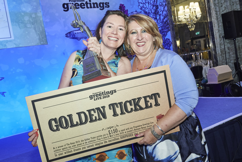 Above: (left) Deborah Tingay, director of Southbourne Cards which won Best Independent Card Retailer – South West with agent Rosie Trow at The Retas 2018 with the trophy and the Golden Ticket (worth £150 to spend at PG Live) that all winners receive.