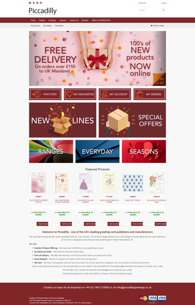Above: The homepage of Piccadilly's new trade website.