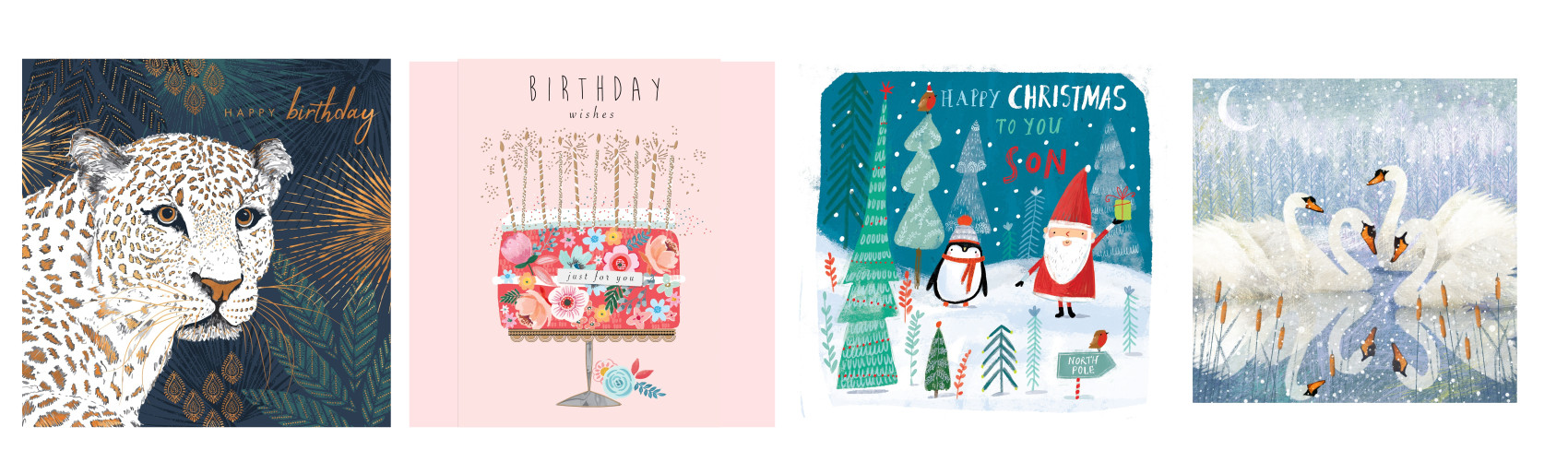 Above: Among the many artists and illustrators that Bright represents and has had greeting cards published of their work include (left-right) Claire Wilson, Jo Spicer, Ag Jatkowska and Sue Reeves.