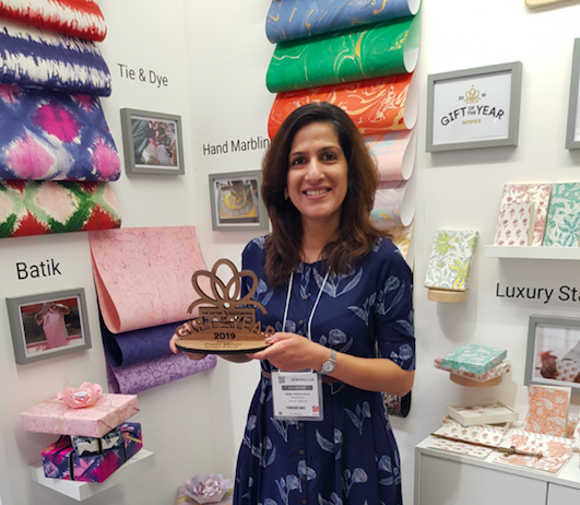 Above: Rani Moochhala, founder of Paper Mirchi, recently won a Gift Of the Year award in the Design & Craft category for her beautifully hand-crafted giftwrap papers.