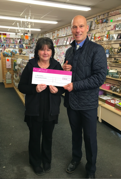 Above: Diane Sutton of Best Wishes, Maldon received her £500 cheque from Cherry Orchard's area sales manager Keith Taylor.