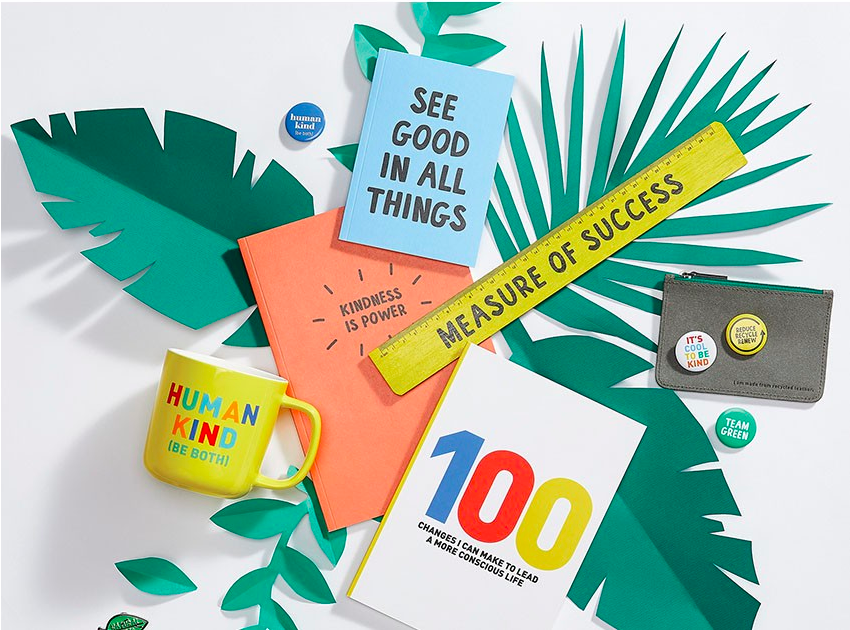 Above: Paperchase's Conscious Living range launched at the start of this year including notebooks that used to be coffee cups, pens that used to be plastic bottles, erasers made from diverted landfill materials, storage items that are 3D printed sugar cane.
