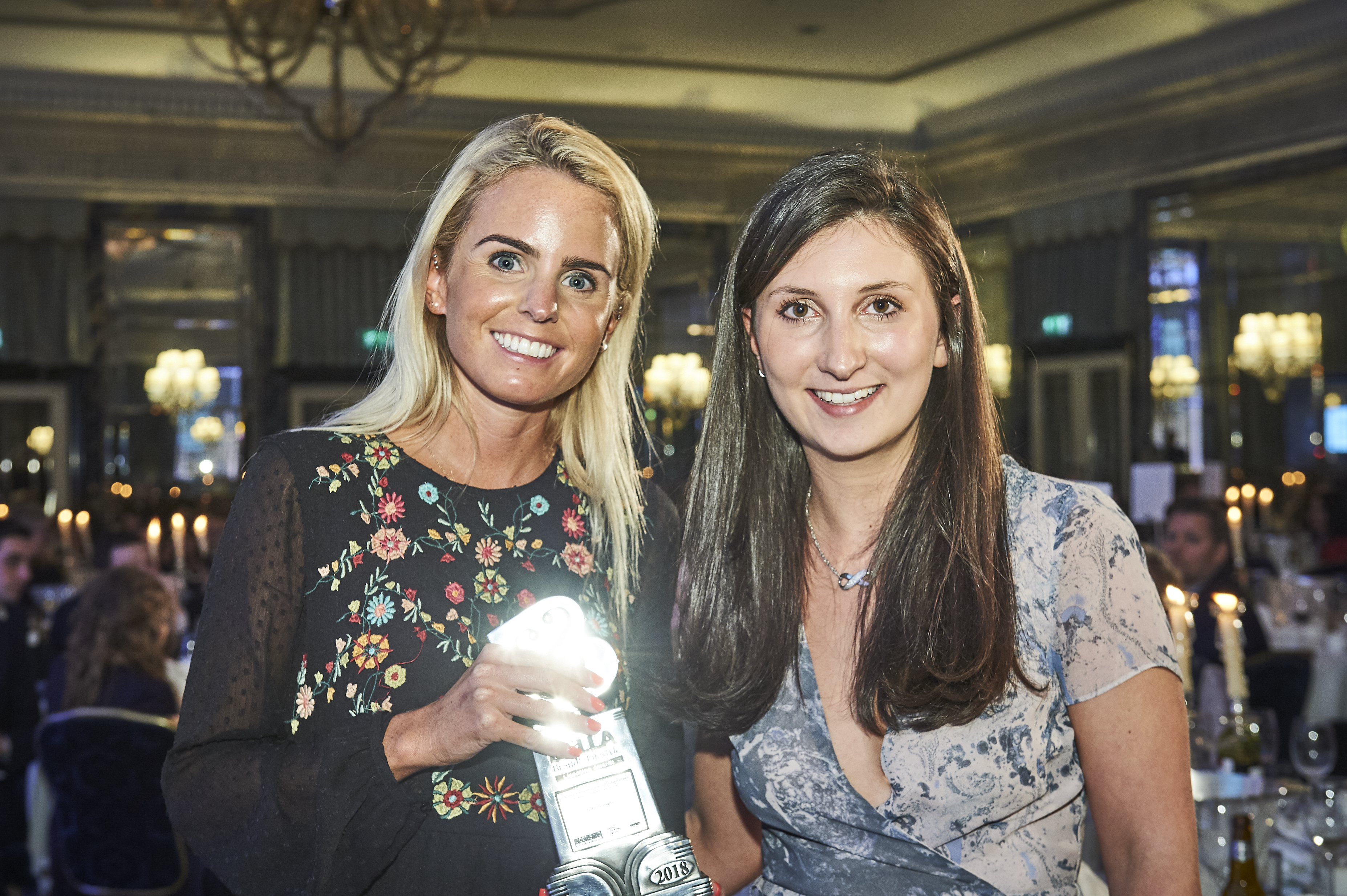 Above: Lizzie Batchelar (left) at the Brand and Lifestyle Licensing Awards last year with JL&P colleague Rosie Bick.