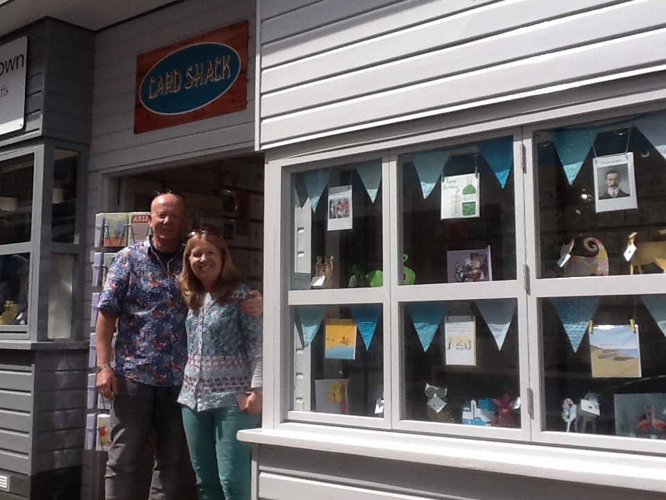 Above: Card Shack's Rob and Carrie Saunders lapping up the Broadstairs' sunshine.