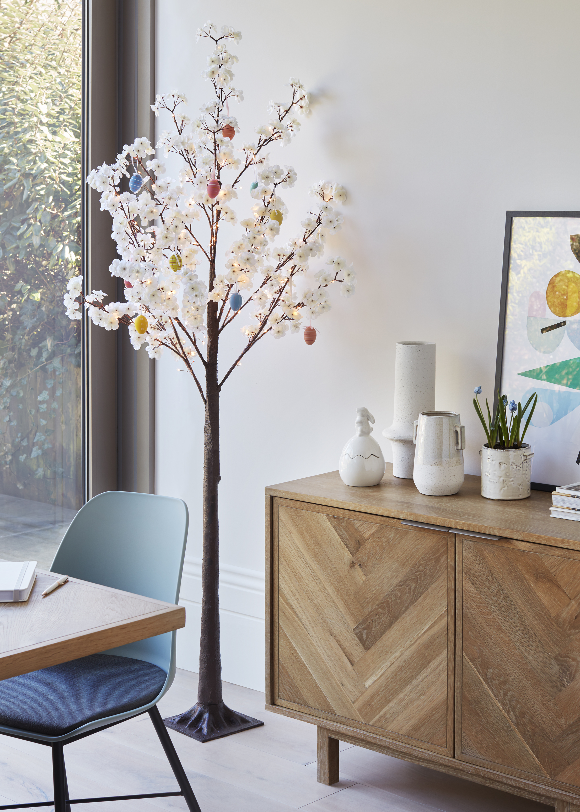 Above: JL&P's white decorative tree has proven very popular this Easter.