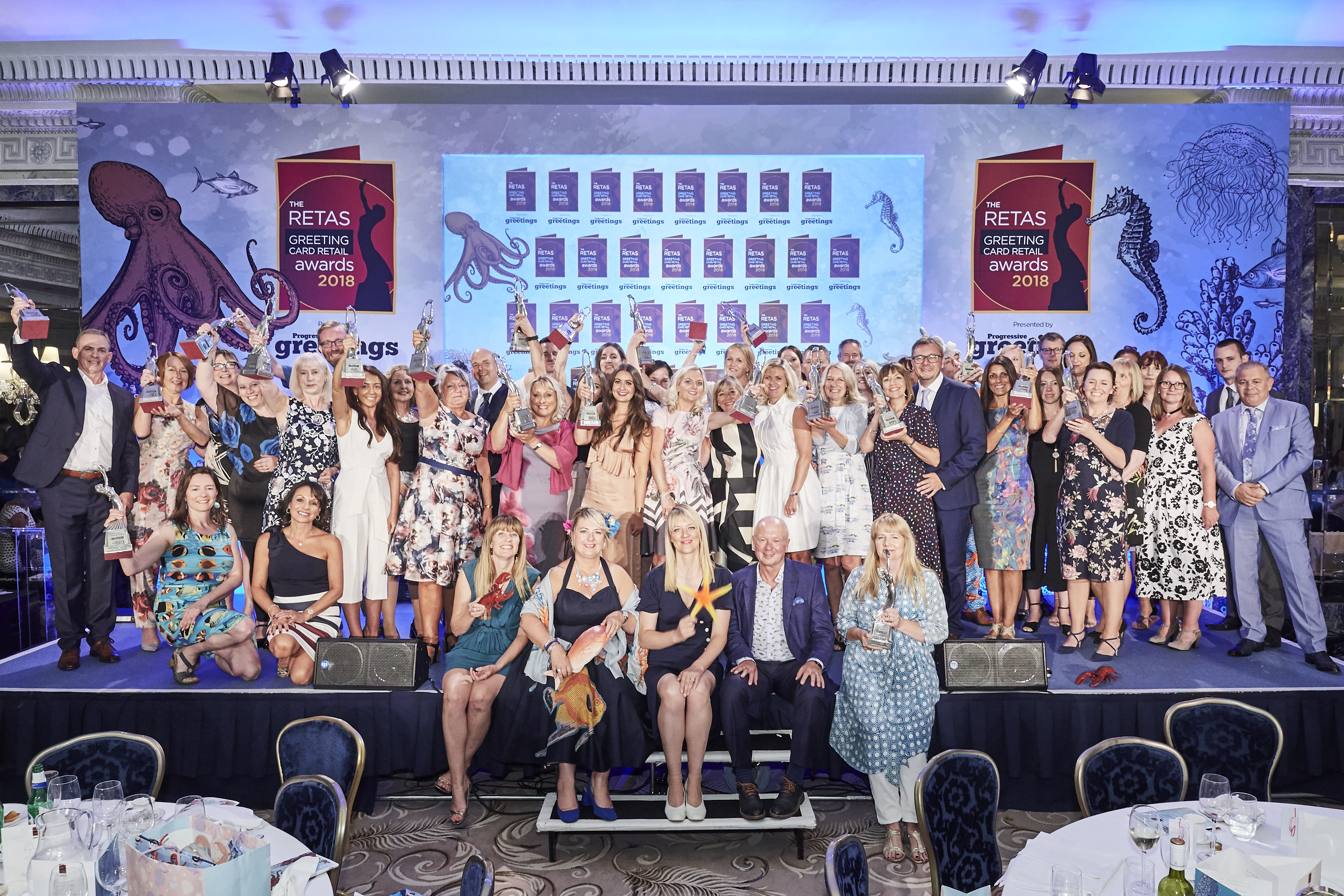 Above: All the winners of The Retas 2018 on stage at The Dorchester last July.