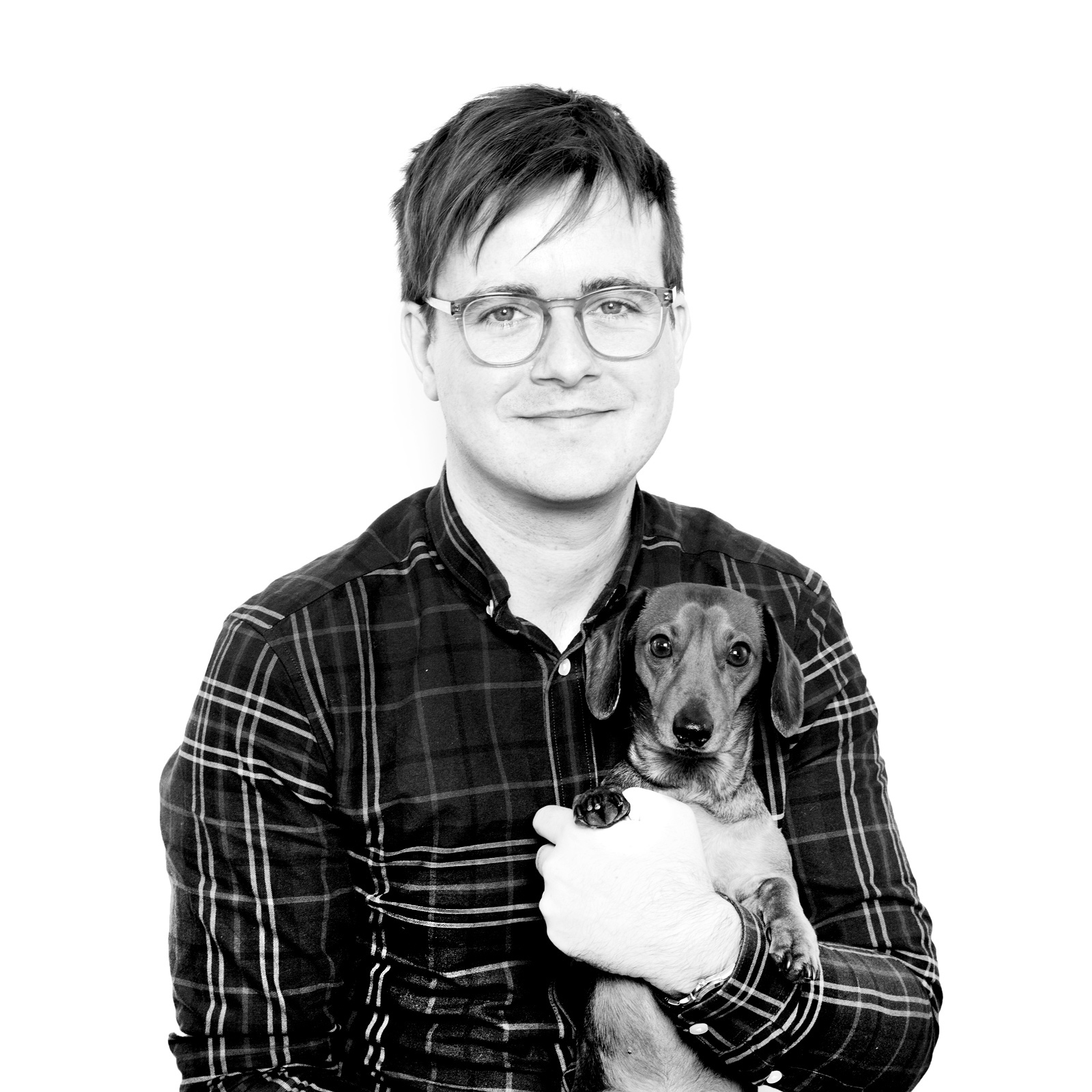 Above: Mark Callaby and Scout, one of the company's two Dacshunds. Mark founded Ooh Deer in 2011 with Jamie Mitchell.