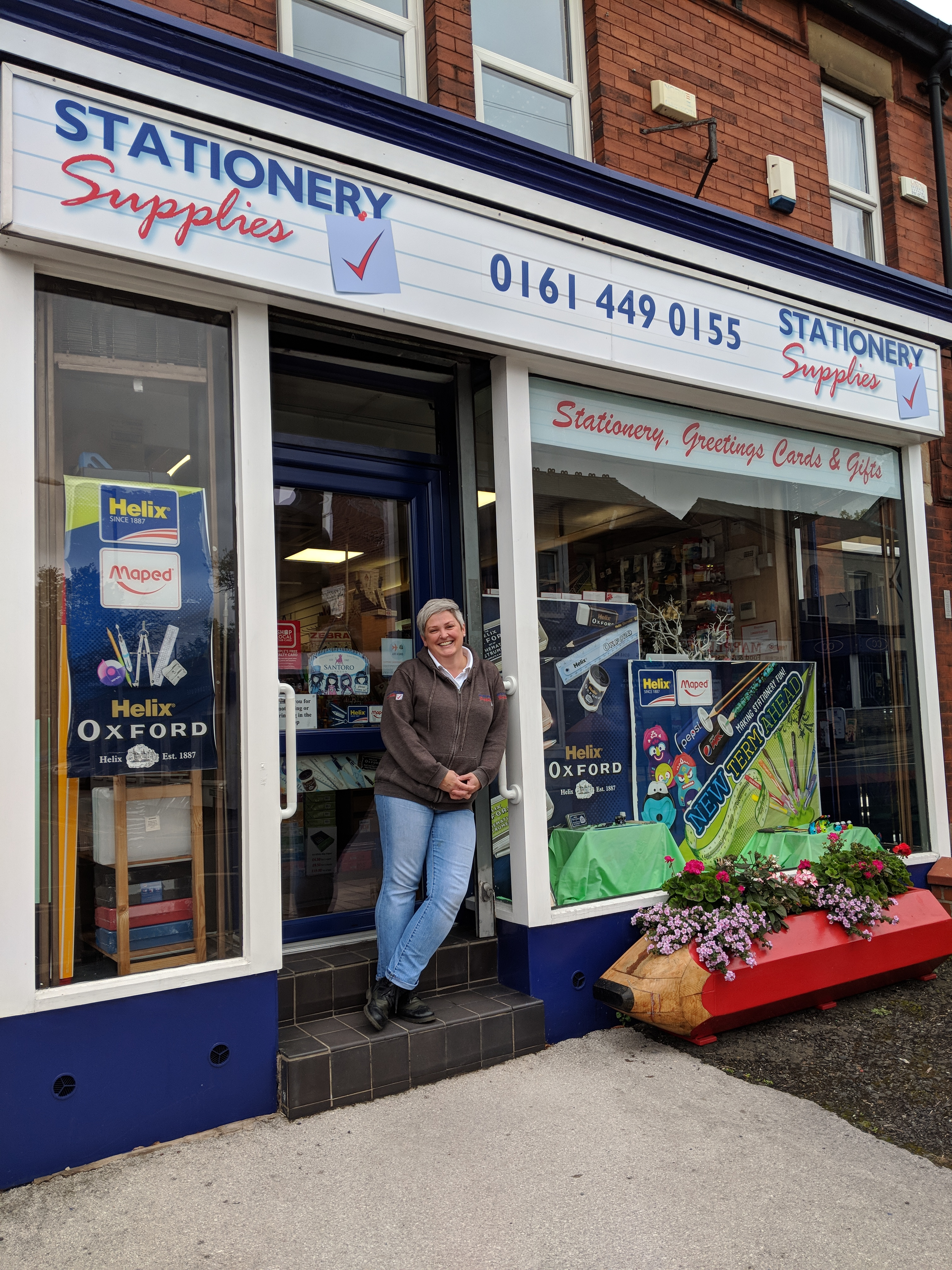 Above: Sarah Laker, who bought Marple Stationery Supplies 14 years ago is on a mission!