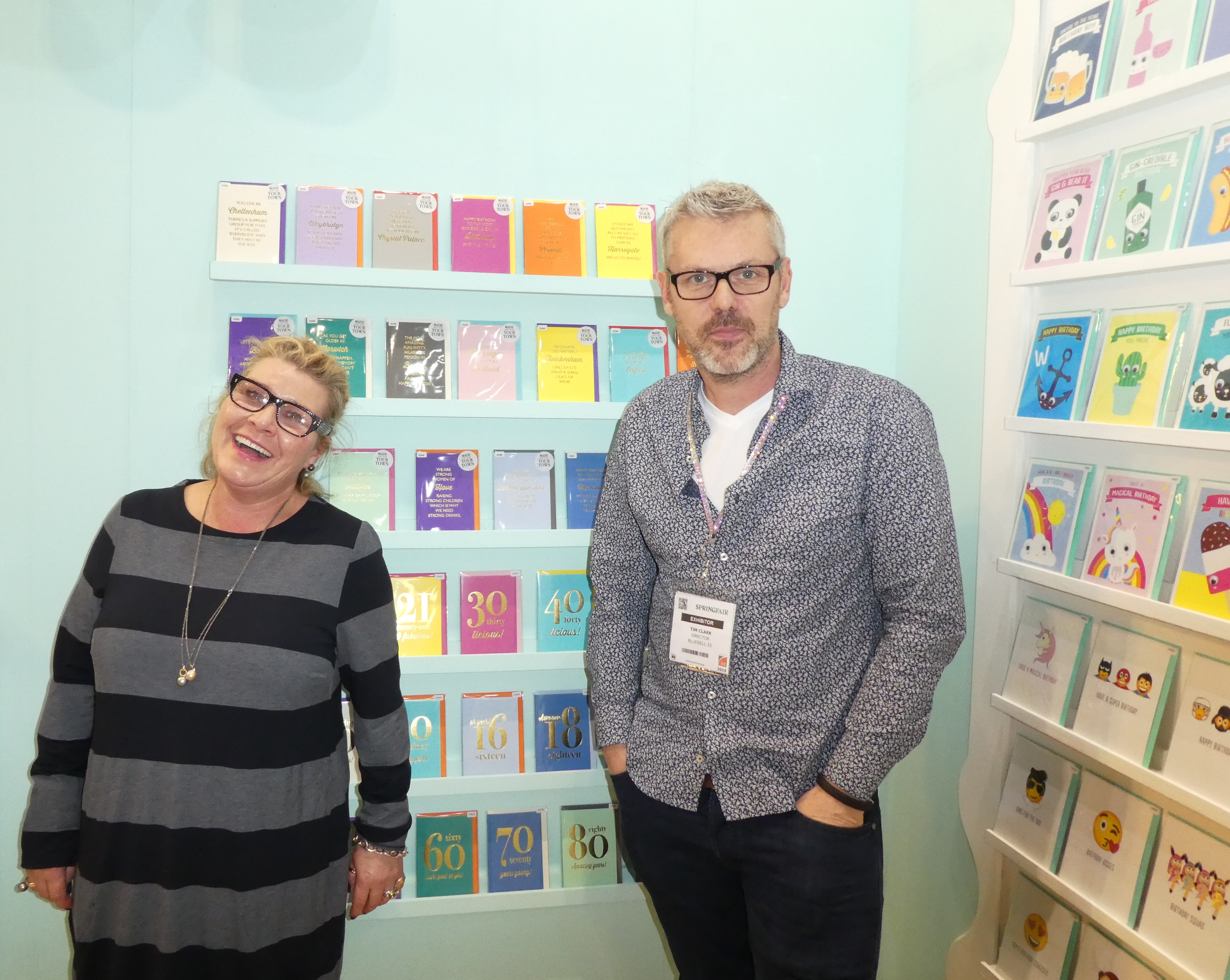 Above: Bluebell 33 director Tim Clark on the company's stand at the Spring Fair with agent, Beth Robson.
