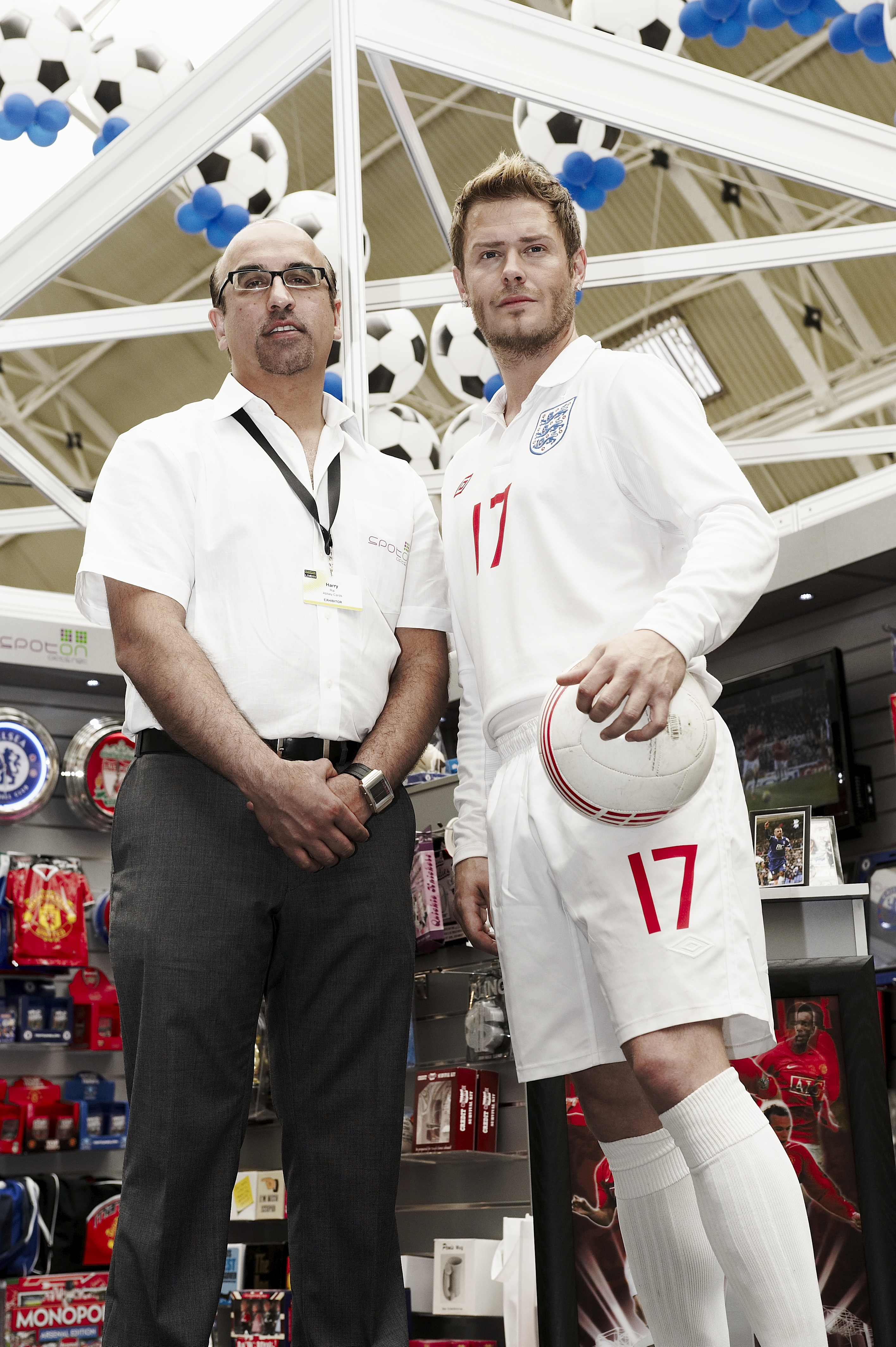 Above: Harry Rai caused a stir when he launched Spot On Gifts, having a lookalike David Beckham on the stand at the Spring Fair.