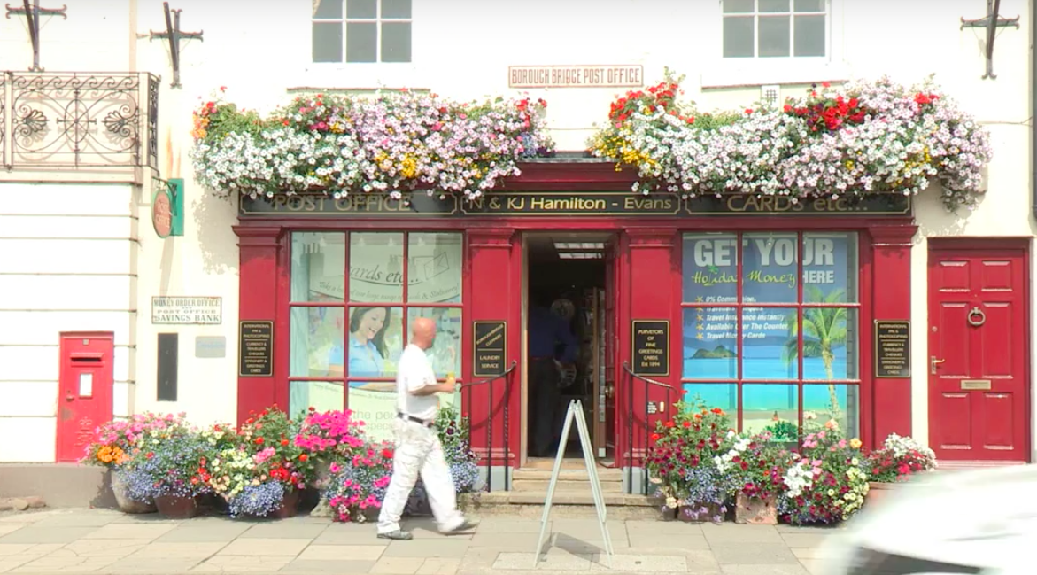 Above: Boroughbridge Post Office in North Yorkshire is thriving due to its greeting card sales.