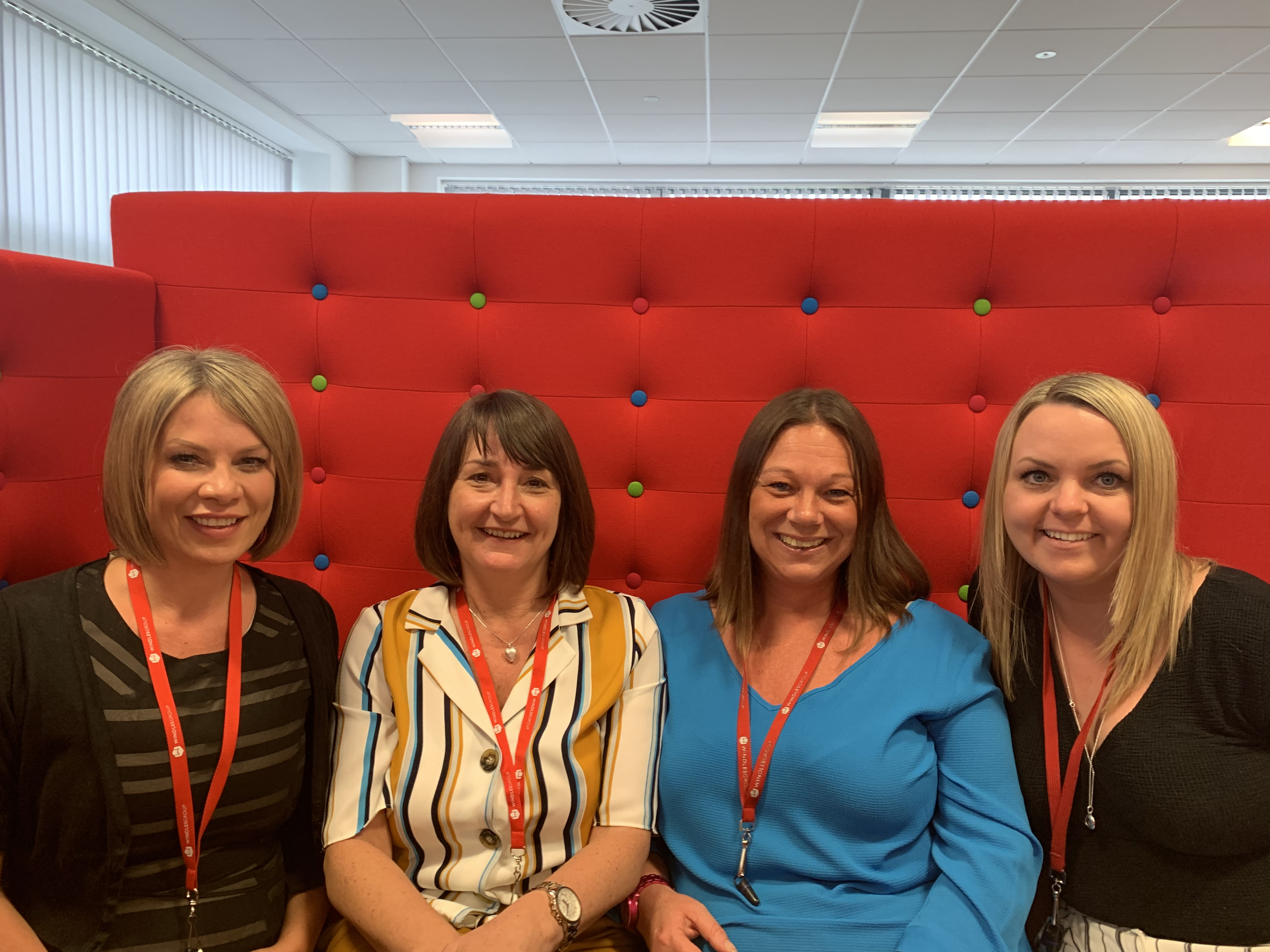 Above: Nicky Marshall (second left) joins other members of the Windles' sales team. (Left-right) sales director Andrea Norcott; Michelle Mills, business development and marketing manager and Emma-Louise Allen, key accounts manager.
