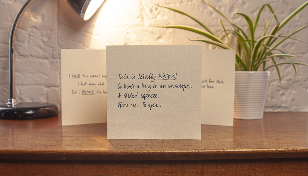 Above: The handwriting on the cards is of people who have suffered a miscarriage themselves.