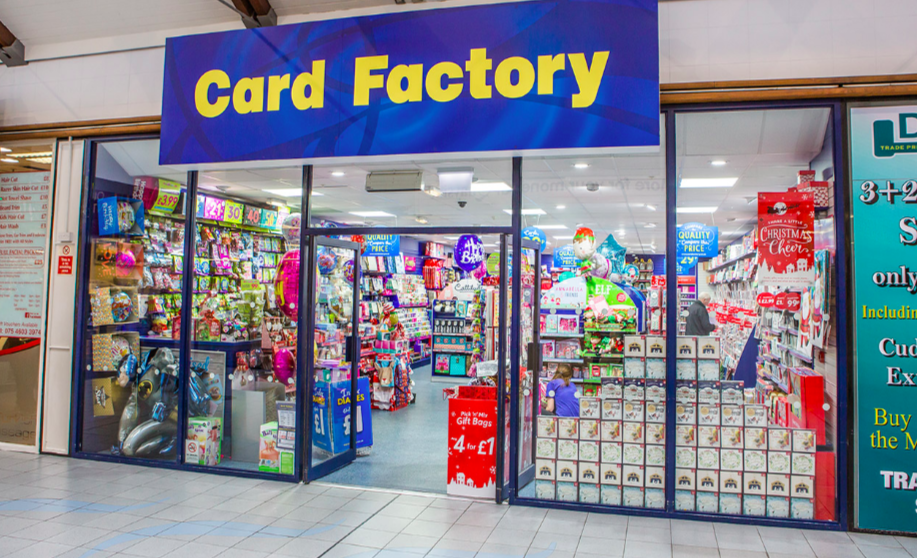 Above: Card Factory is actively seeking growth outside of its own stores.