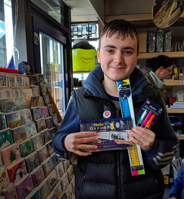 Above: One of the young supporters of Stationery Week who spent his pennies in Stationery Supplies in Marple on Stationery Saturday.