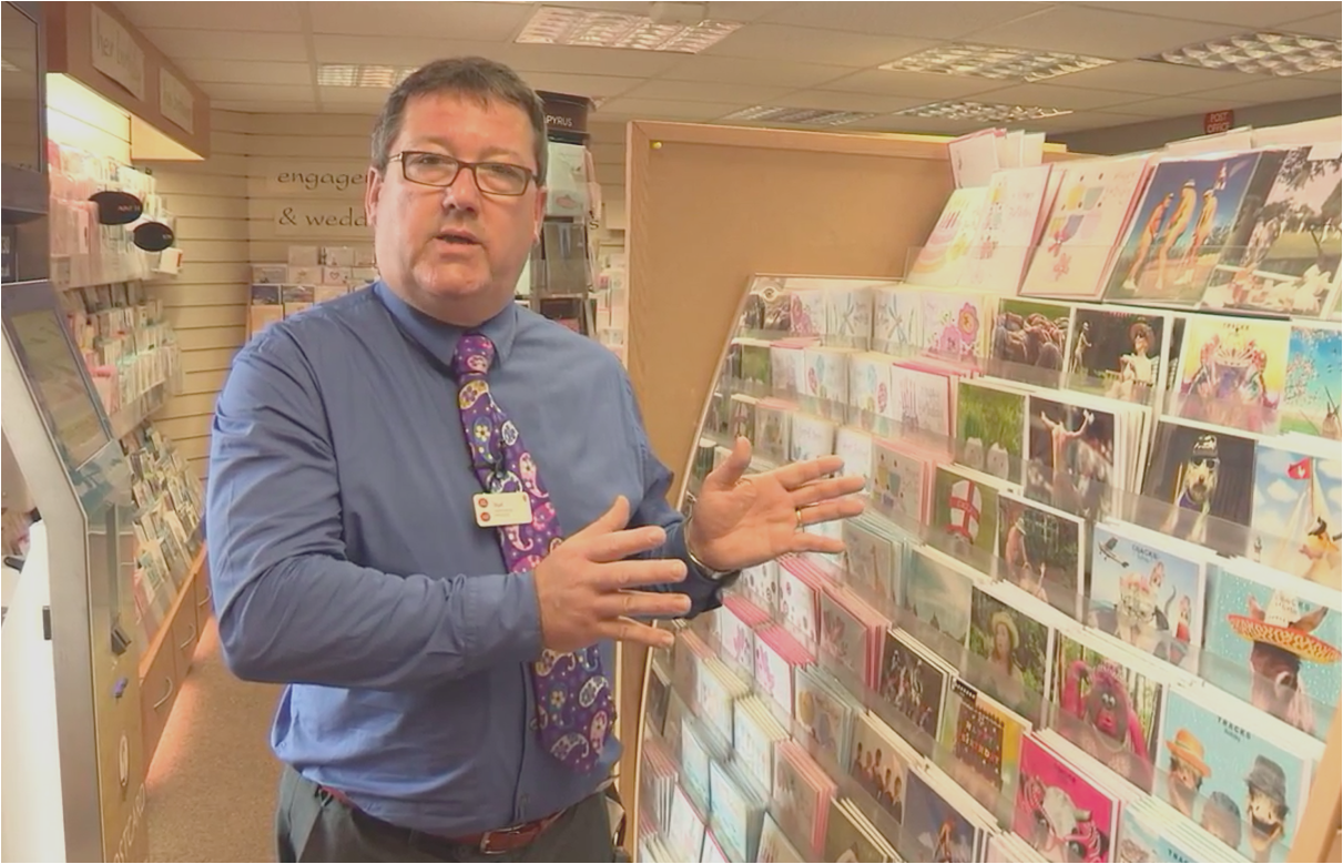 Above: Nigel Hamilton-Evans in full flow on a video he made to help other subpostmasters make the most of greeting card sales.