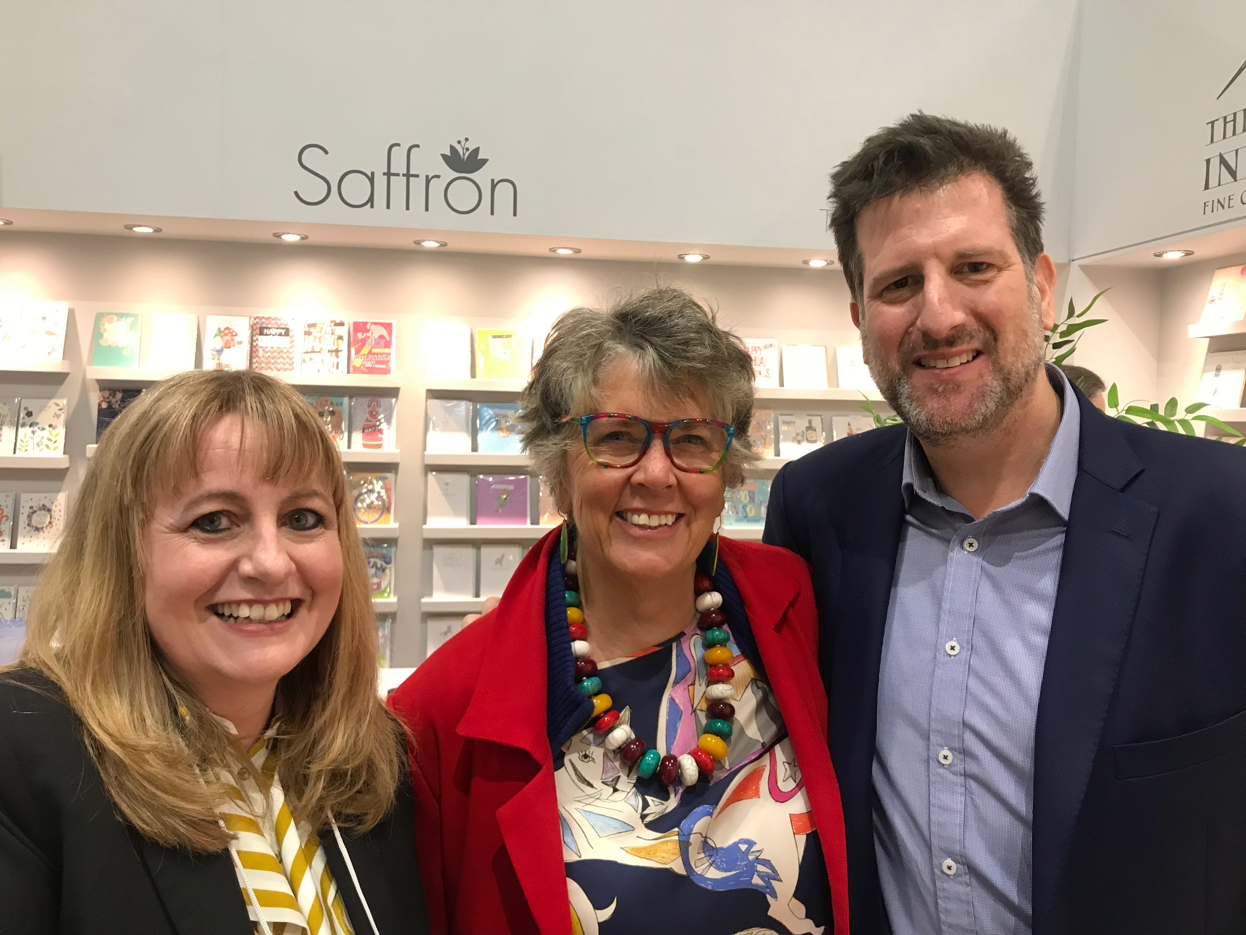 Above: Prue Leith (centre) with Ling's ceo David Byk and Clare Twigger, the publisher's head of creative.