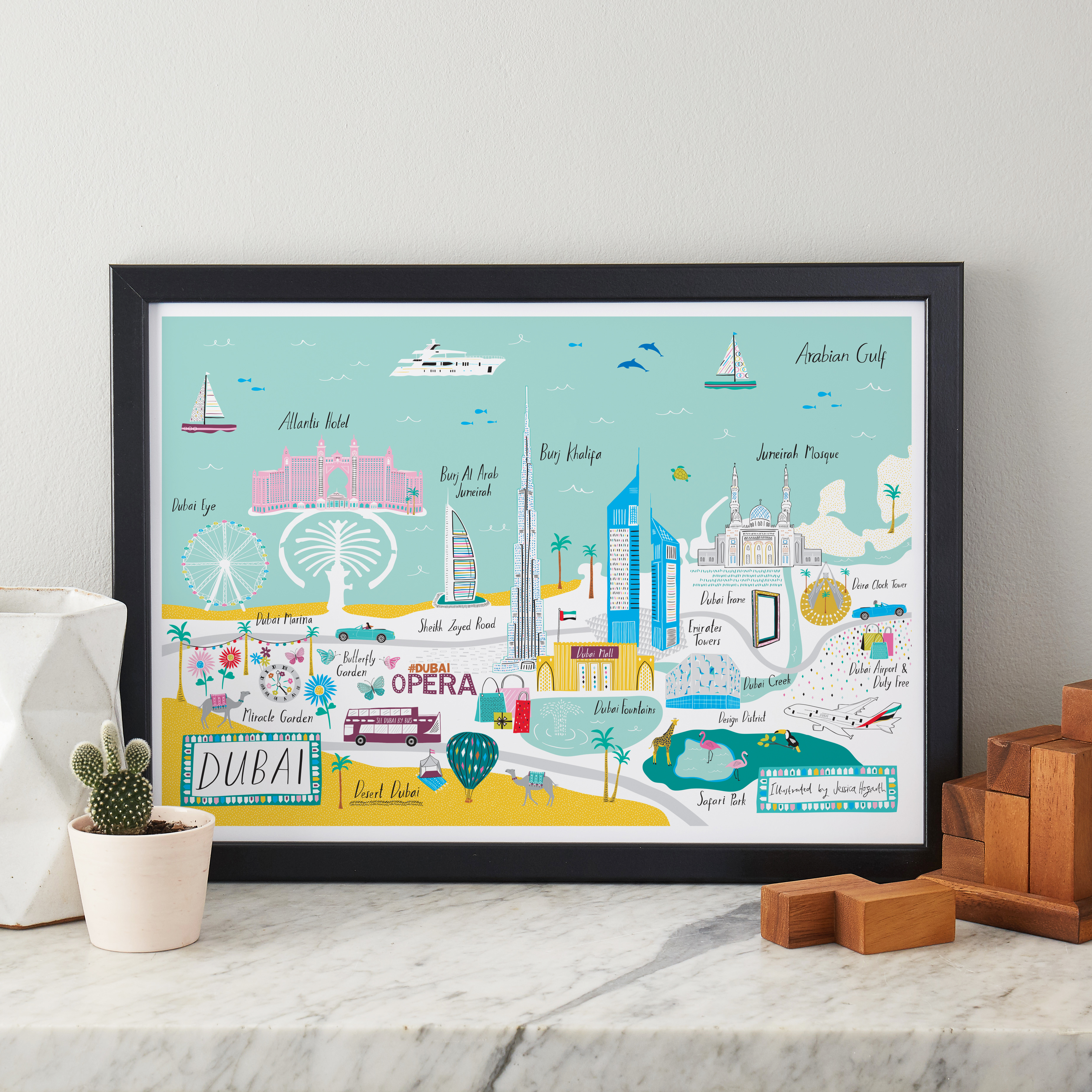 Above: Jess Hogarth's unique hand-drawn Dubai map that is to be translated onto notebooks, magnets, postcards, greeting cards, tea towels etc for Yasmin to distribute in the UAE.