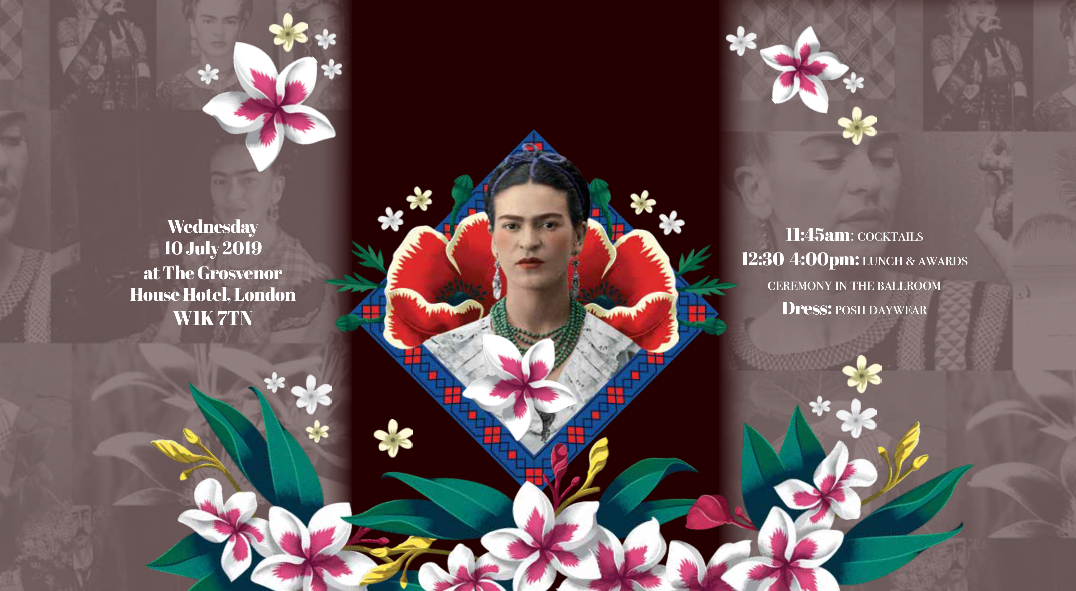 Above: The invitation opens out to reveal an image of Frida Kahlo.