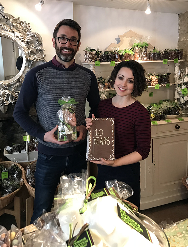 Above: Rosanna Rossi's co-owners Anna Nelson and Troy Nelson in the chocolate shop.
