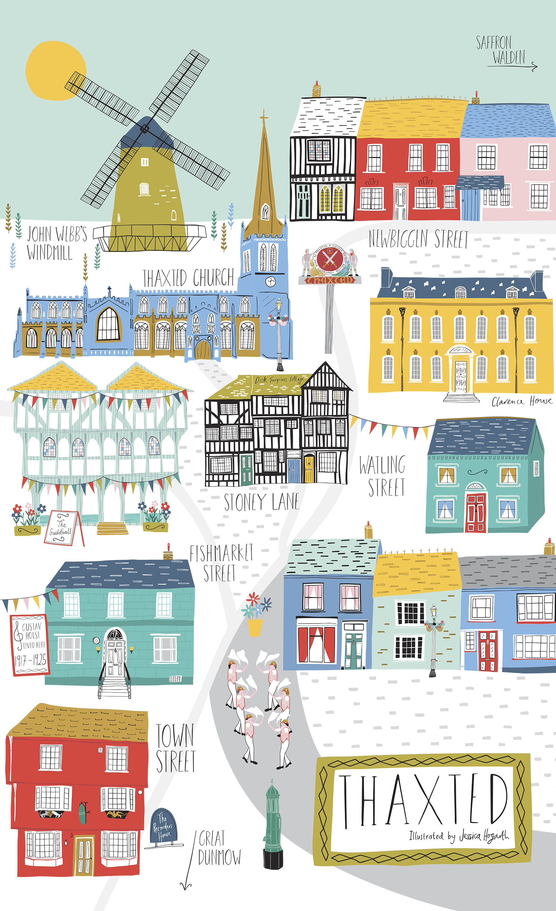Above: The best selling design that Jessica Hogarth created illustrating Thaxted.