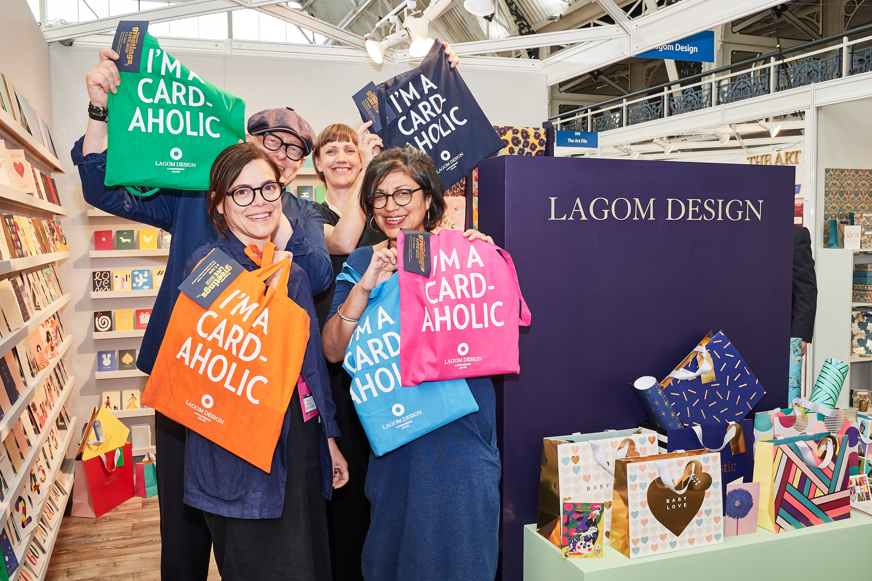 Above: The Lagom Design team with the PG Live keepsake 'I'm a card-aholic' tote bag that everyone received.