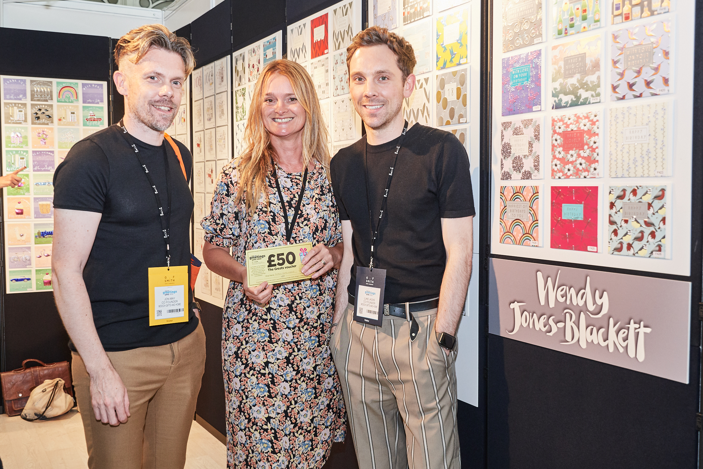 Above: Wendy Jones-Blackett was happy that the Luke Jacks and Jon May, founders of Mooch, Stourport on Severn and Bewdley spent their Greats voucher with the company at the show.