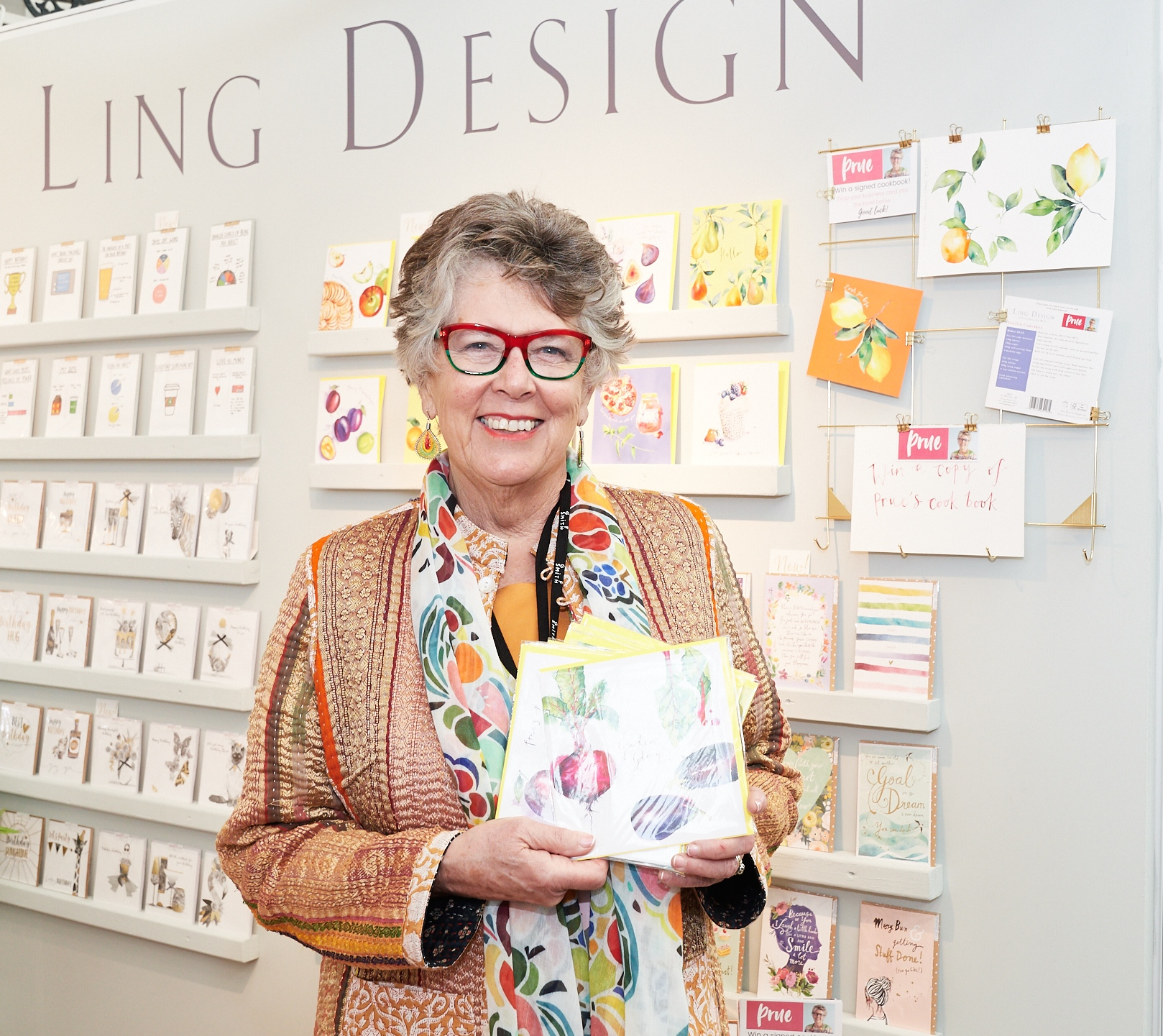 Above: Prue Leith holding some of the new cards on the Ling Design stand.