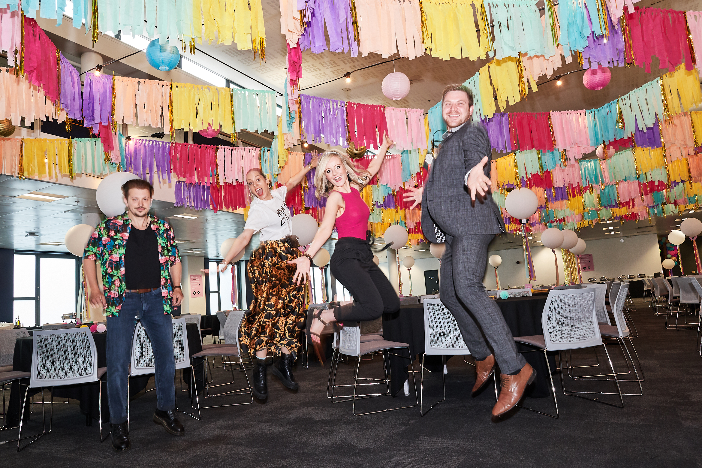 Above: Jumping for joy! (Left-right) Louise Tiler Designs' Gavin Nicholas and Louise Tiler with Tache's Pennie Bryant and Frank Nicholls.