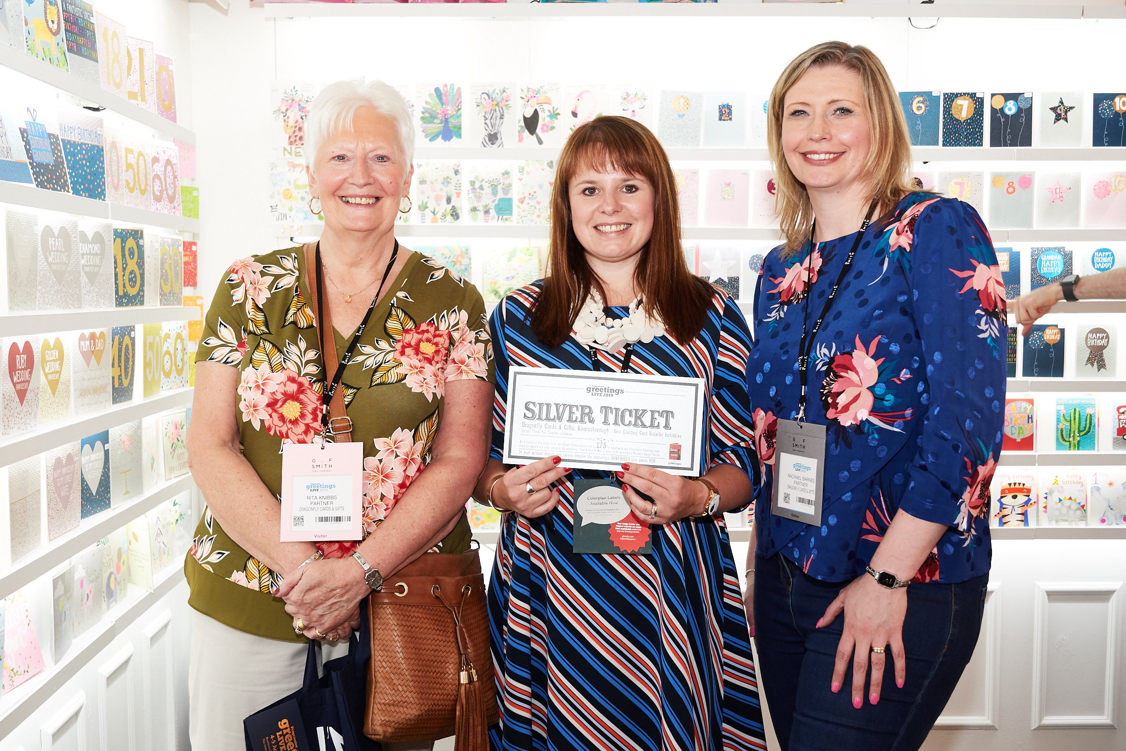 Above: Rachael Barnes (right) with her mum and business partner Rita Knibbs (left) with Paper Salad's co-owner Claire Williams on the publisher's stand at PG Live.