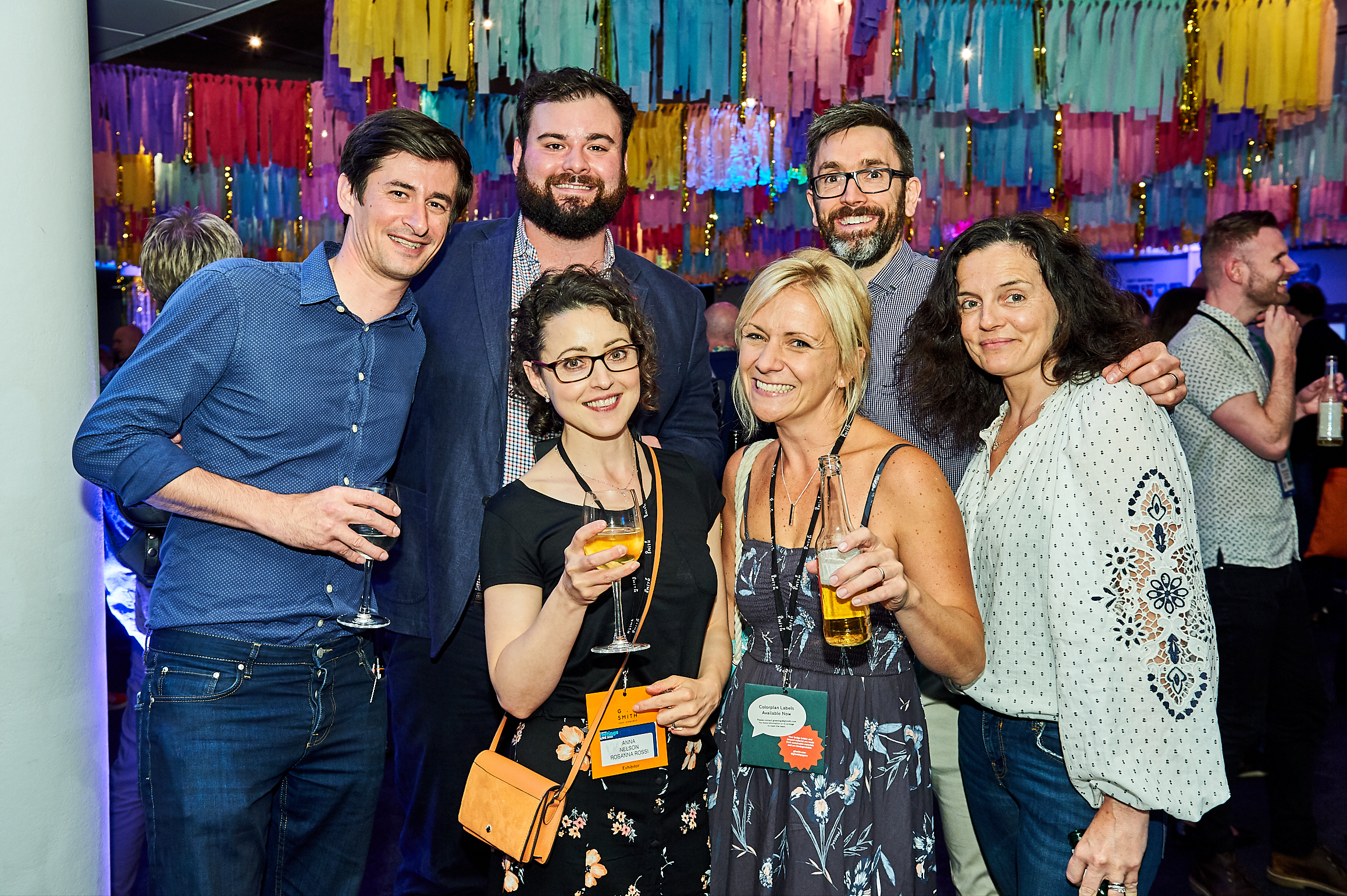 Above: Postmark's Mark and Leona Janson-Smith (far left and far right) with (2nd left-right) James Mace (The Art File), Anna Taylor (Rosanna Rossi), Georgie Francis (White Cotton Cards) and Troy Nelson (Rosanna Rossi) at the Opening Night Party that was co-sponsored by Tache and Louise Tiler Designs.