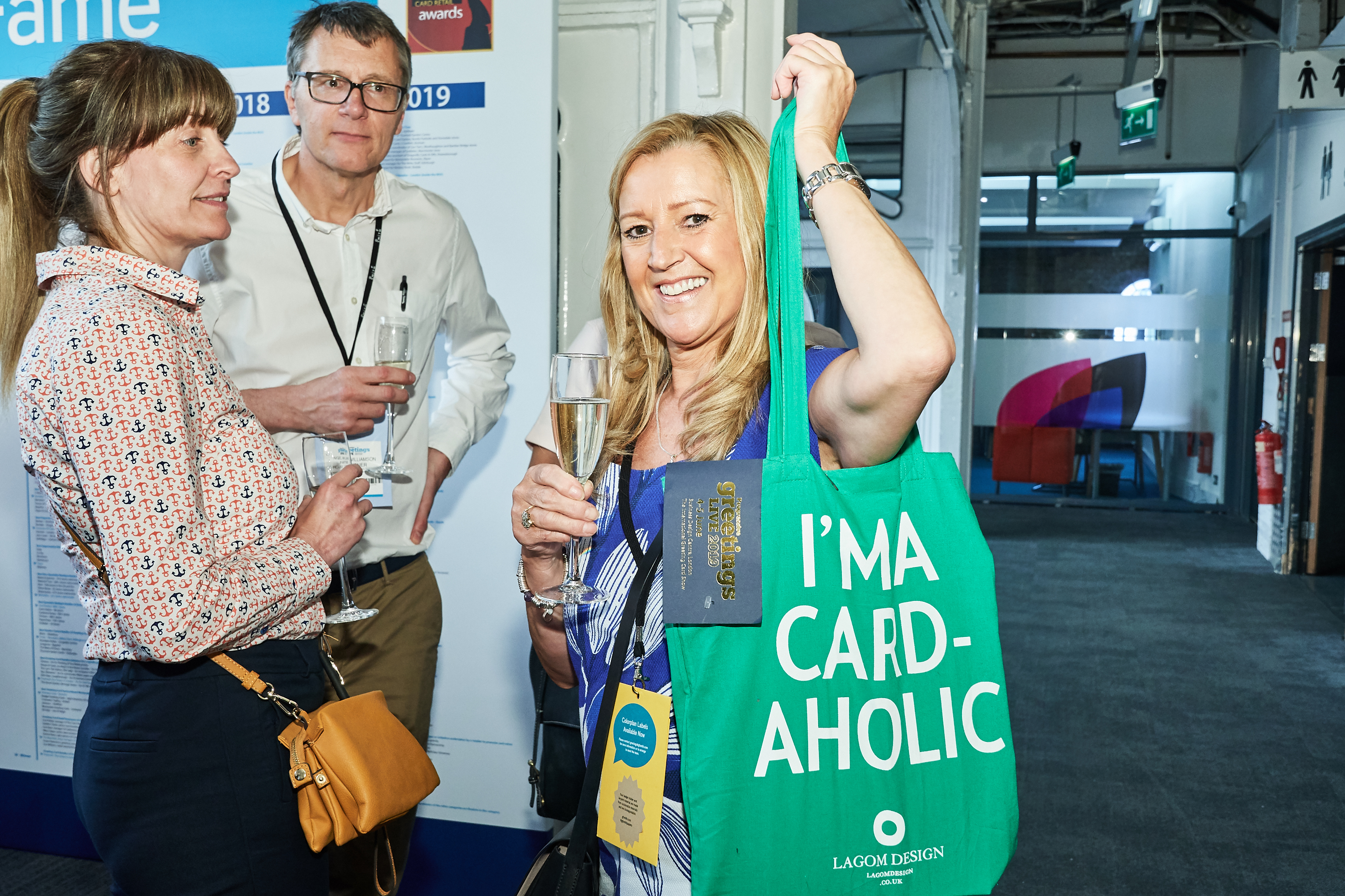 Above: Unit 7's Andrea PInder with her PG Live 'I'm a card-aholic' tote bag (produced by Lagom).