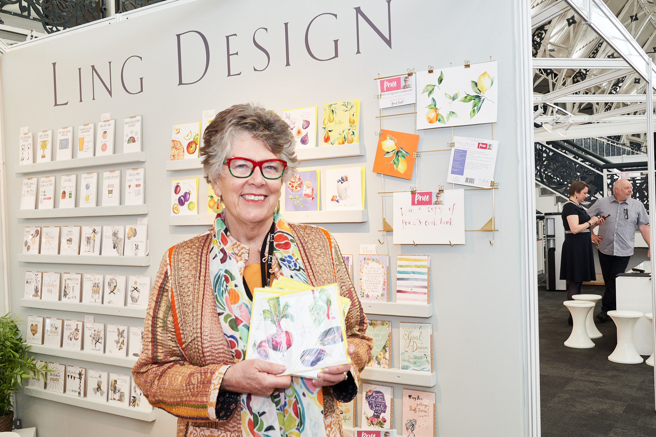 Above: Prue Leith with a some of the new cards on the Ling Design stand.