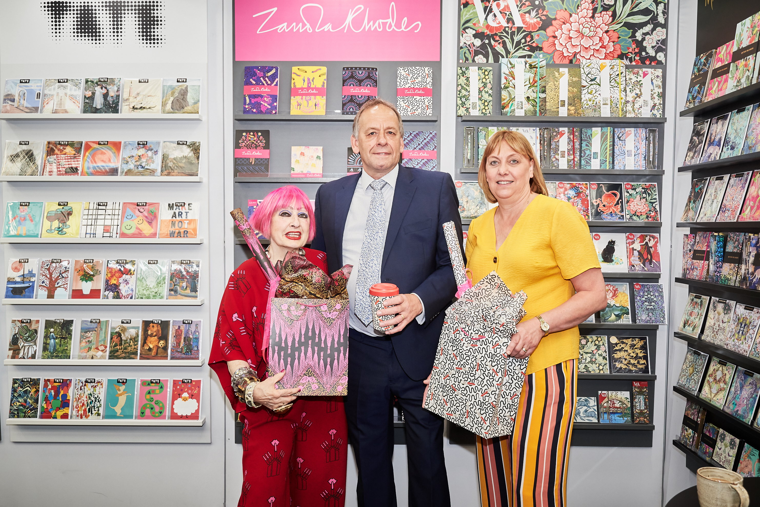 Above: Dame Zandra Rhodes with Museums & Galleries' co-owners Debbie and Alan Williams.