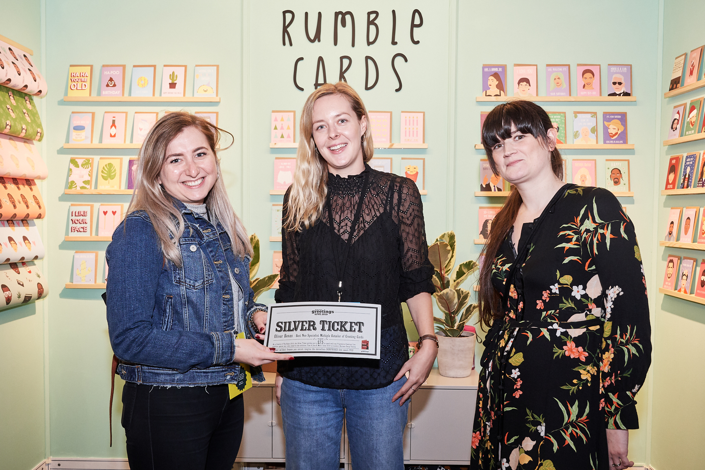 Above: Oliver Bonas' Natalia Kostereska (left) and Siobhan Watkins (right) were delighted to spend their Silver Ticket with Rumble Cards.