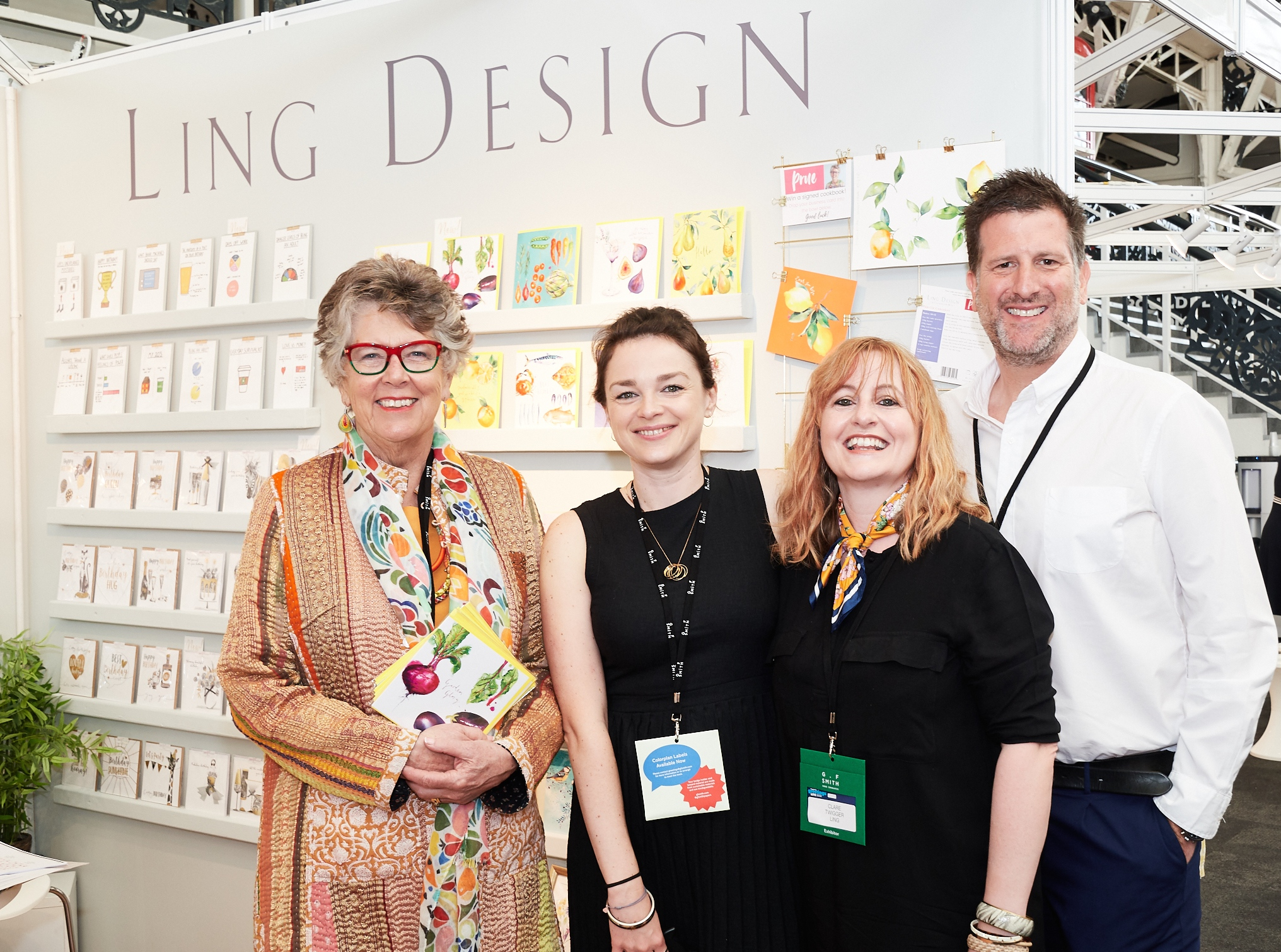 Above: Prue Leith (far left) with Ling Design's (right-left) David Byk, Clare Twigger and Amelia Strawson.