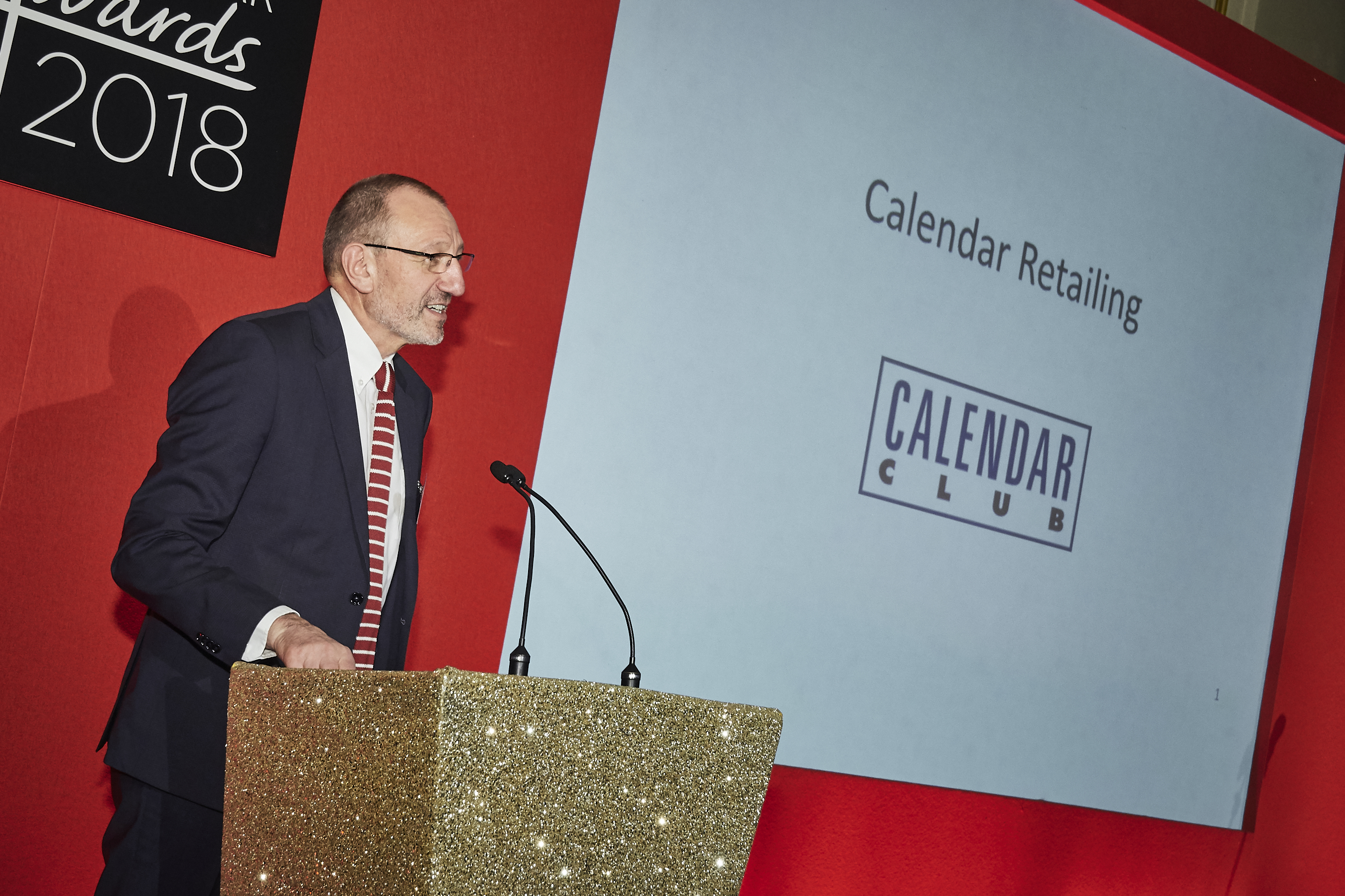 Above: David Pike addresses the audience at last year's Calies calendar awards.