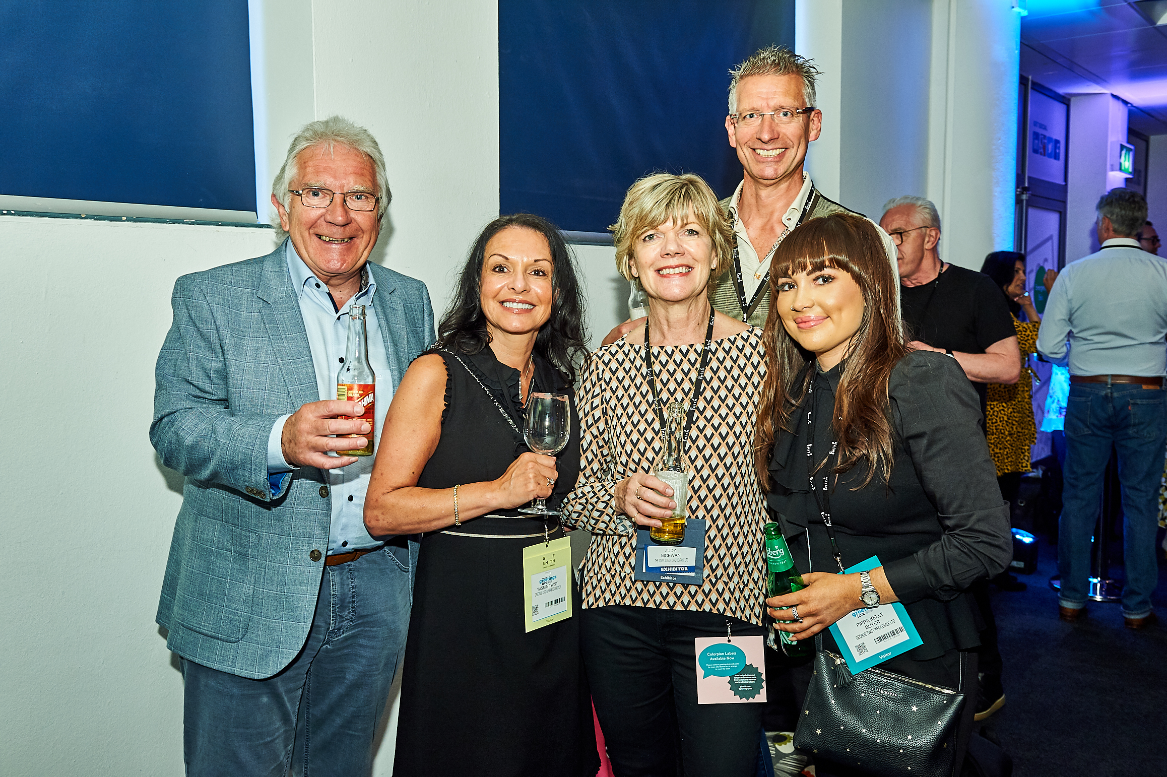Above: Gee Tee's Yasmin Twist (second left), George Twist and Pippa Kelly (far right) with Jonny Javelin's Jonny Spears and Judy McEwan at the PG Live Opening Night party.