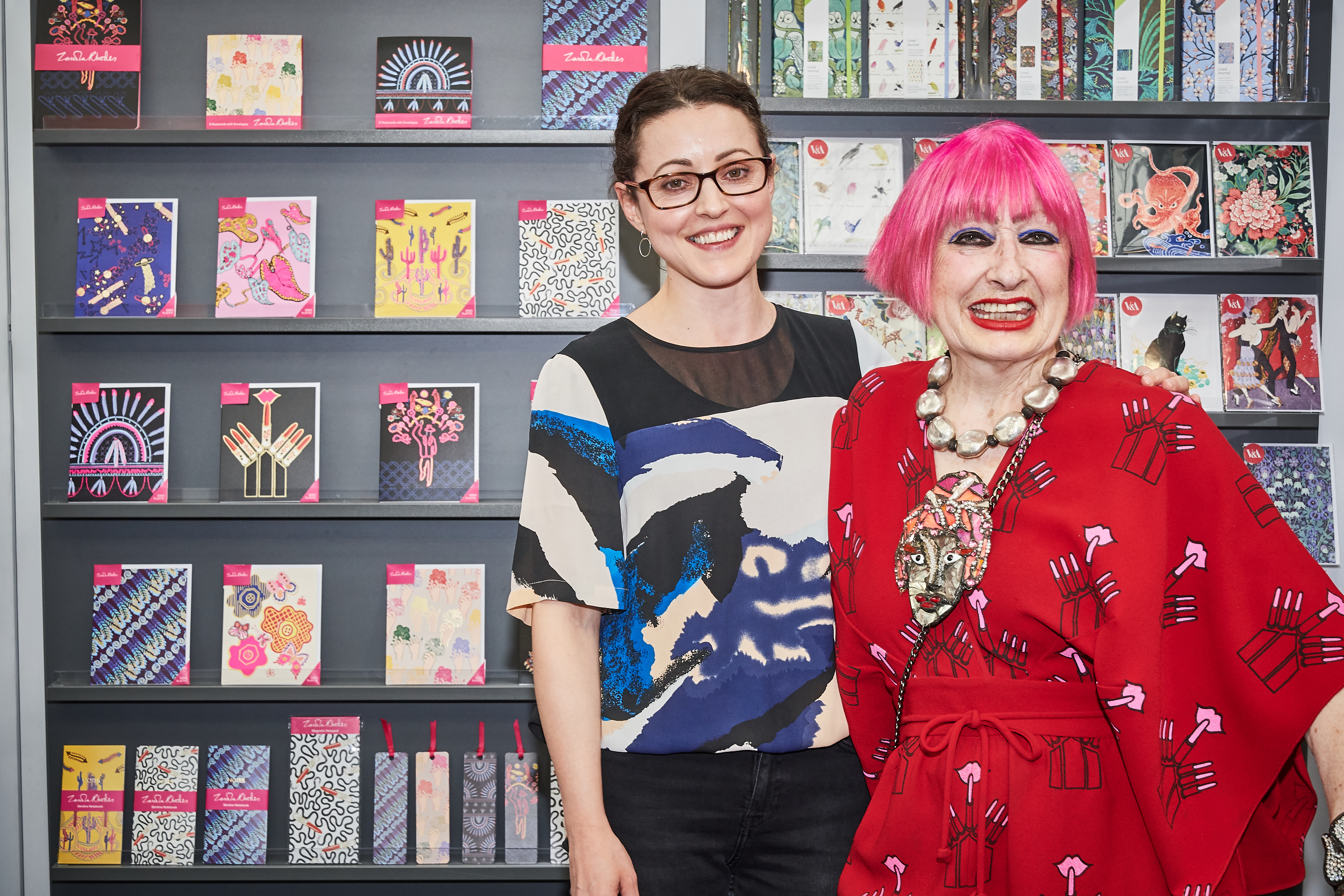 Above: Rosanna Rossi's Anna Taylor with her former 'boss', Dame Zandra Rhodes on the Museums & Galleries stand at PG Live.
