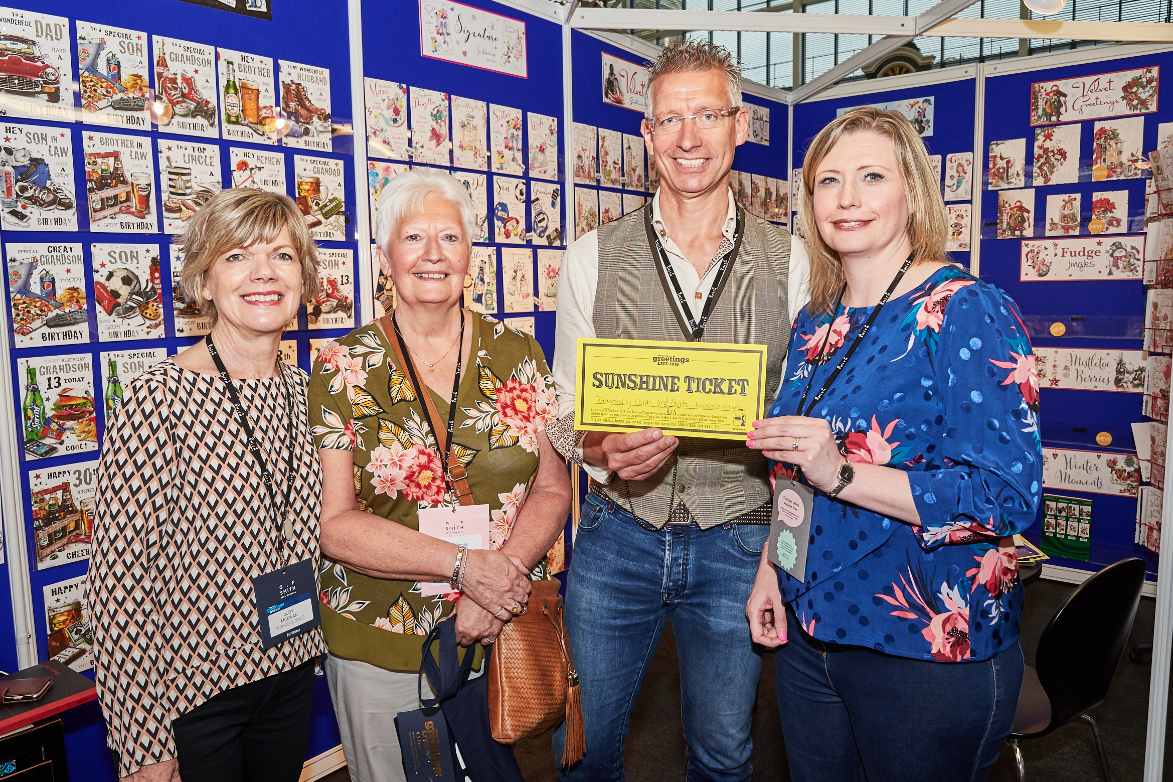 Above: Jonny Javelin's Judy McEwan (left) and Jonny Spears with Dragonfly Cards and Gifts' Rachael Barnes (right) and Rita Knibbs (second left).