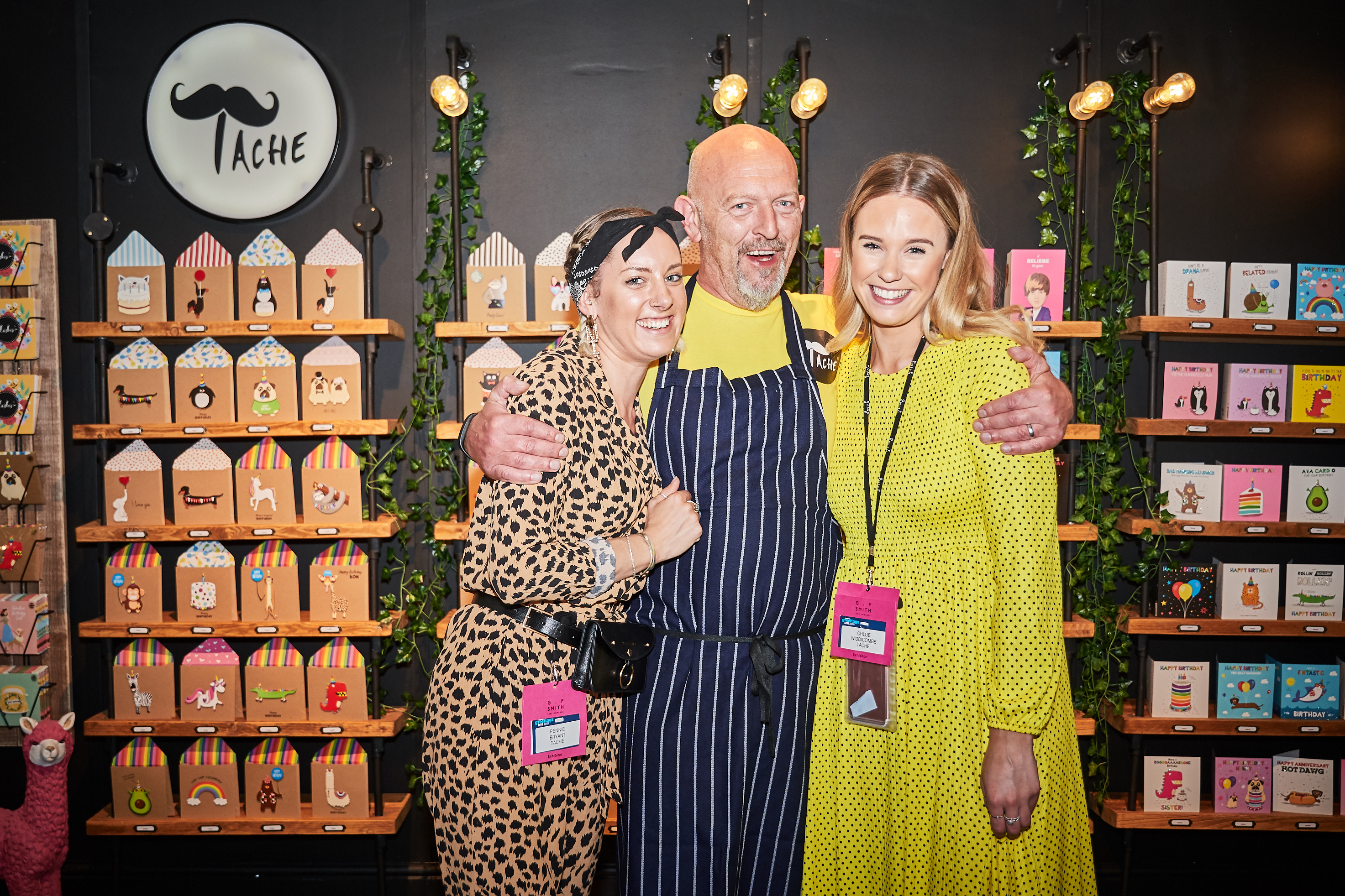 Above: Tache's Pennie Bryant (left) and Chloe Widdicombe with PG Live's head of catering, Liam Keating on the company's stand.